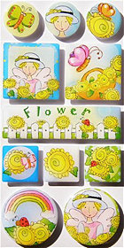 Irene's Garden Flower Epoxy Stickers