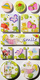 Irene's Garden Smile Epoxy Stickers