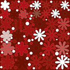 Red Glitter Flowers Stickers