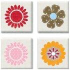 Square Flowers Epoxy Stickers