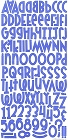 Blue Flocked Alphabet Stickers
