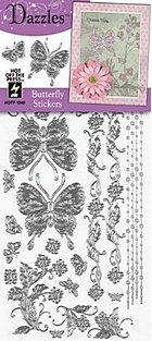 Silver Butterfly Outlines Stickers
