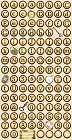 Brown Alphabet Buttons Stickers