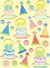 Puffy Glitter Birthday Cakes Stickers