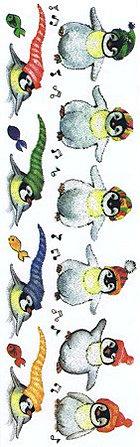 Glitter Penguins Rub-Ons