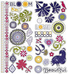 Glitter Zinnia Icons Stickers