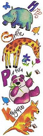 Glitter Zoo Animals Rub-Ons