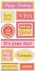 3D Birthday Girl Words Stickers