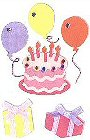 3D Pink Birthday Cake Stickers