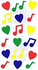 Music Notes And Hearts Stickers