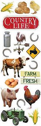 Glitter Farm Animals Rub-Ons
