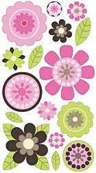 3d Pink Buttercups Stickers
