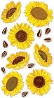 3d Glitter Sunflowers Stickers