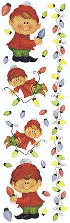 Glitter Elves & Bulbs Rub-Ons