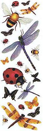 Glitter Garden Bugs Rub-Ons